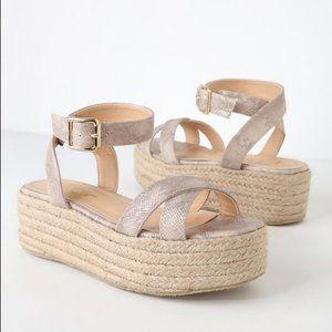 Lulu's Cobi Beige Snake Espadrille Platform Sandal